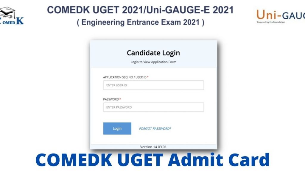 COMEDK UGET Admit Card 2021 at www.comedk.org, Exam Centres List Download