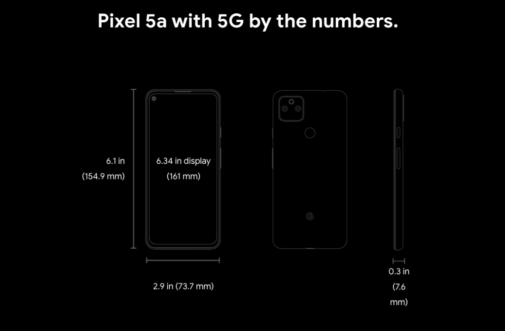 Google Pixel 5A Specification Numbers