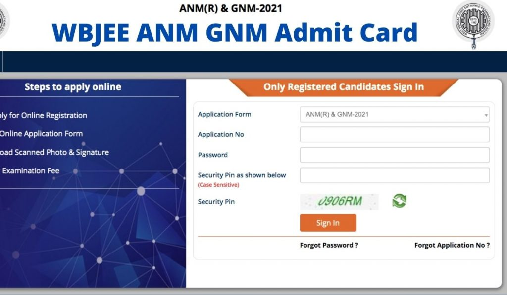 WBJEE ANM GNM Admit Card 2021 Download at wbjeeb.nic.in
